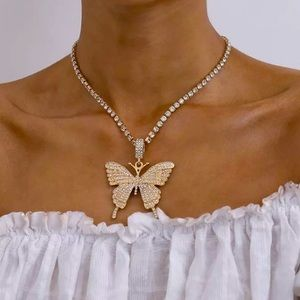 Hip Hop Gold Tone Rhinestone Butterfly Necklace